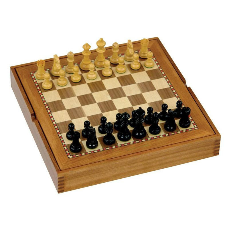 Jaques 15 in. Box Board Chess & Draughts Combination
