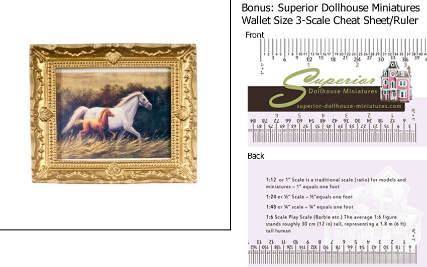 Dollhouse Miniature Horses In Frame w 3-Scale Wallet Ruler by
