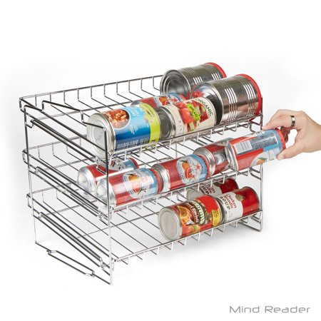 Stack-able Can Rack Organizer, Pantry Organizer, Silver ()