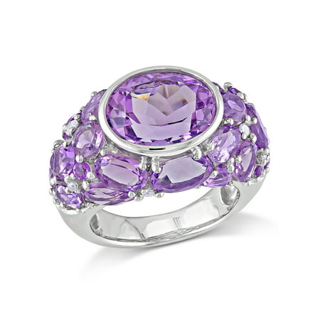 Tangelo 10-3/8 Carat T.G.W. Amethyst and 1/10 Carat T.W. Diamond Sterling Silver Cluster Cocktail Ring
