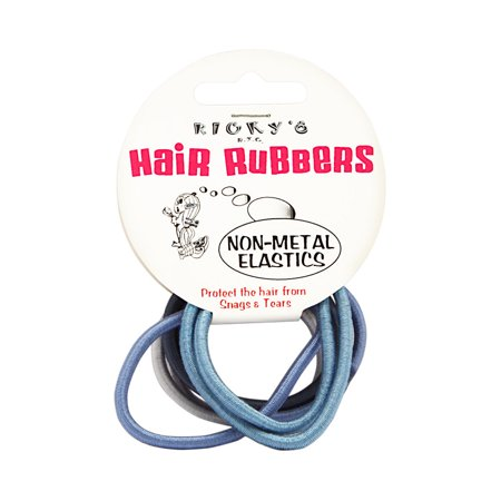 Ricky's N.Y.C. Hair Rubbers Non-Metal Elastics Assorted Blue/Gray (Rickys Halloween Nyc)