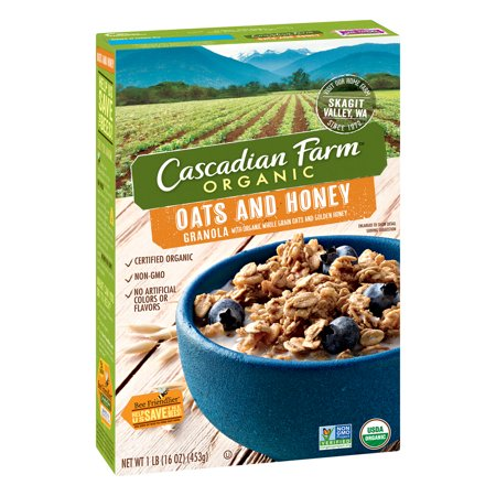 (2 Pack) Cascadian Farm Organic Granola, Oats and Honey Cereal, 16 (Cascadian Farm Oats)