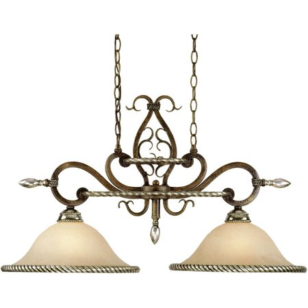 AF Lighting Wentworth 2-Light Island Fixture with Cream Alabaster Glass Shade, Bronze Crackle