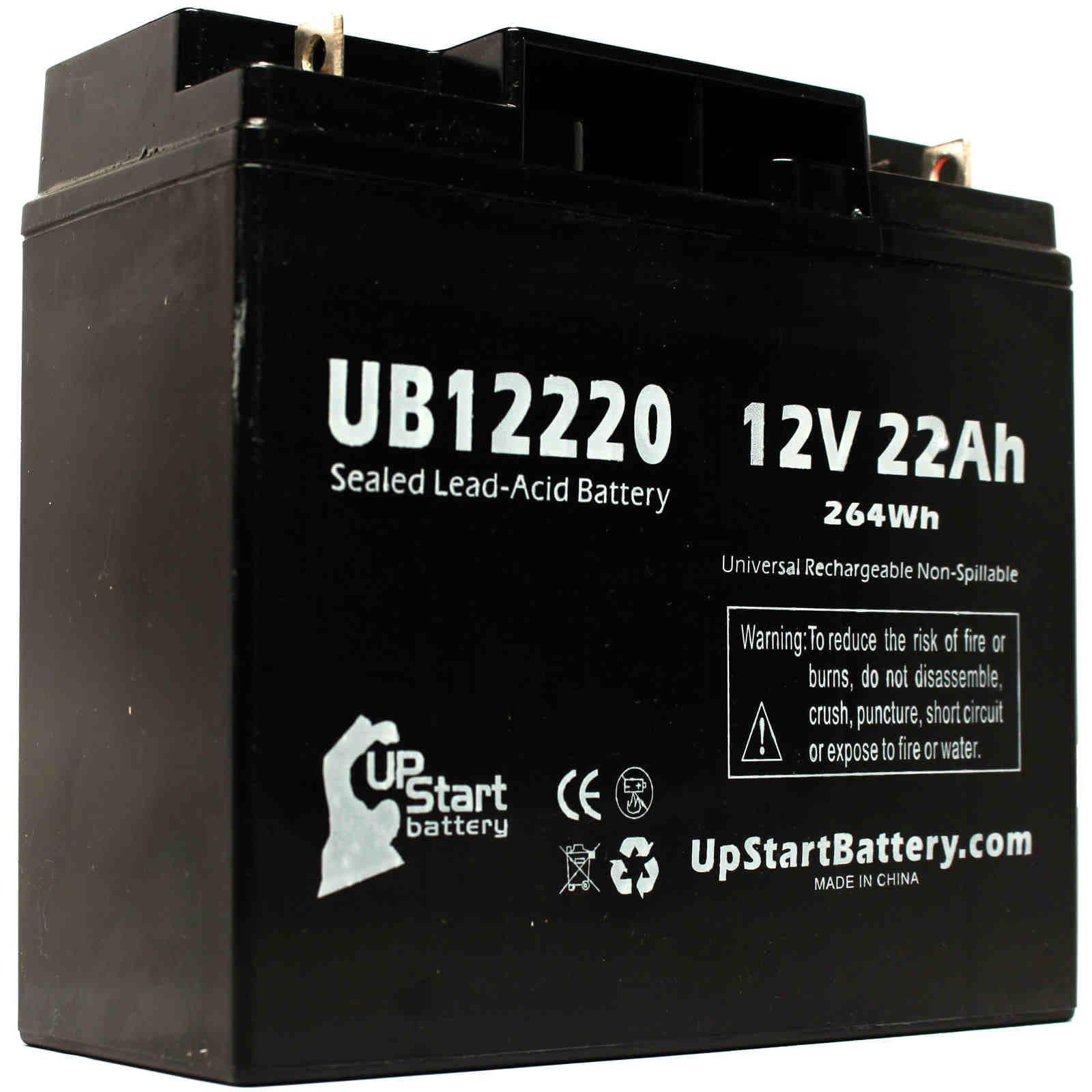 2x Pack - Panasonic LC-RD1217P Battery Replacement - UB12220 Universal Sealed Lead Acid Battery (12V, 22Ah, 22000mAh, T4 Terminal, AGM, SLA) - image 2 de 4