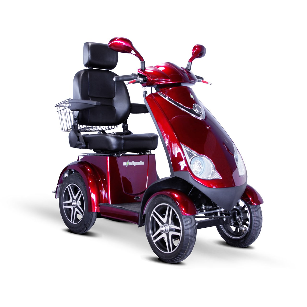 4 Wheel Heavy Duty 500lbs. Wt. Capacity Scooter with Electromagnetic Brakes - Red, EWHEELS