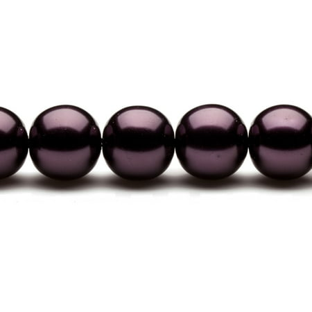 16mm Round Metallic-Tone Burgundy Glass Pearls 16Inch Sting 26-Bead Count 16mm Mabe Pearl