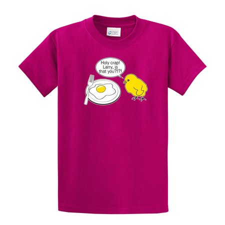 Funny T-Shirt Chick and Eggs Larry Is That - Navy Chick