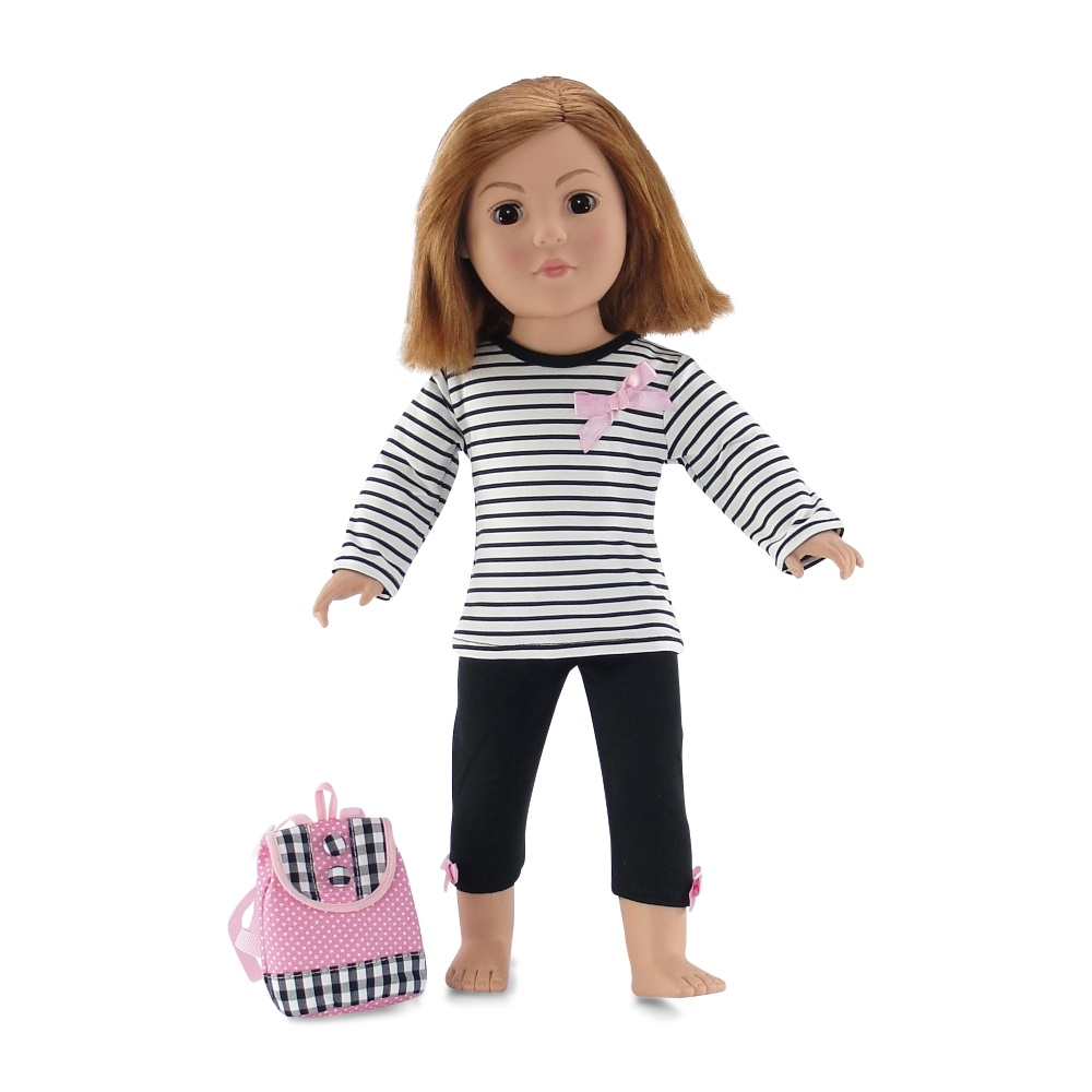 18 Inch Doll Clothes | Pink, Black and White Back to School Outfit with Long Sleeved... by Emily Rose Doll Clothes