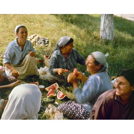 Bulgaria Peasants Na Group Of Tomato Pickers Enjoying Watermelon Near Popina Northern Bulgaria Photographed C1970 Rolled Canvas Art     24 X 36