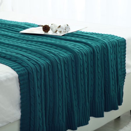 Super Soft Warm Solid Cotton Cable Knit Blanket Throw Rug Sofa Bedding Dark Green 47 X70