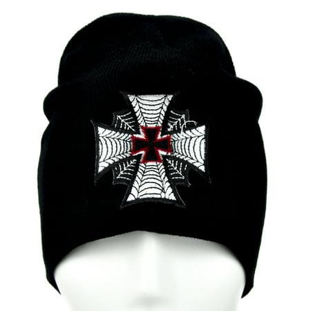 Spide Web Iron Cross Beanie Gothic Knit Cap Alternative Clothing