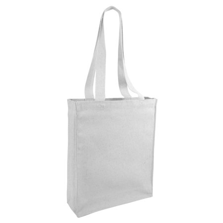 1 Dozen 12 Pack Reusable Canvas Tote Bag Book With Gusset White