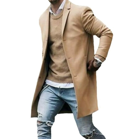 Emmababy Men Winter Trench Coat Slim Fit Turn Down Collar Knit