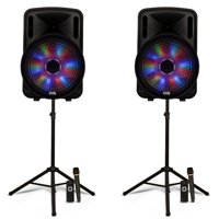 """Acoustic Audio PRTY151 Battery Powered 15"""" Bluetooth LED Speakers with Wireless Mics and Stands"""