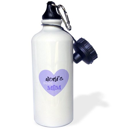 3dRose Worlds Best Mom Purple Heart Mothers Day, Sports Water Bottle,