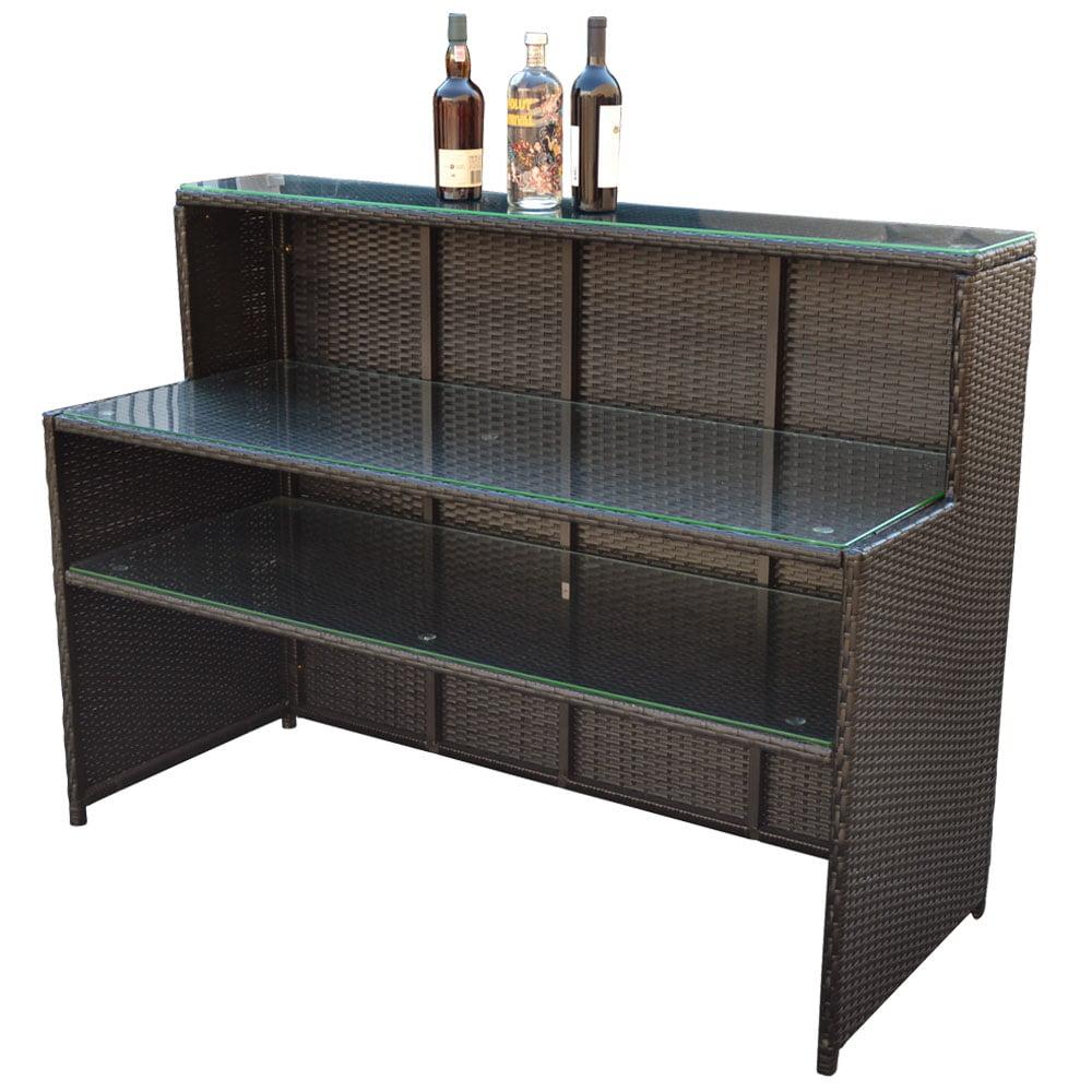 "WICKER Rattan Bar Restaurant Buffet Serving Table Dish Plate Storage Rack Cabinet 58""L x 23.5""W x 43.5""H"