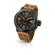 Mens XXL Stainless Steel Case Canteen Brown Leather Black Dial Black Watch - CS42