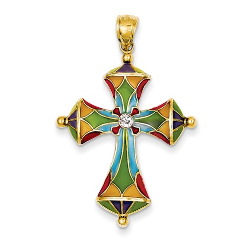 14k Yellow Gold Multi Color Acrylic Passion Cross Pendant