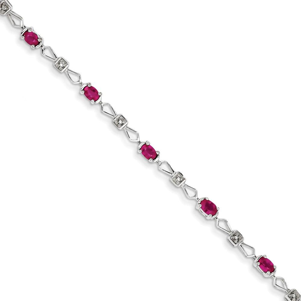 14K White Gold w/ Diamond and Ruby Gemstone Bracelet. Gem Wt- 1.98ct