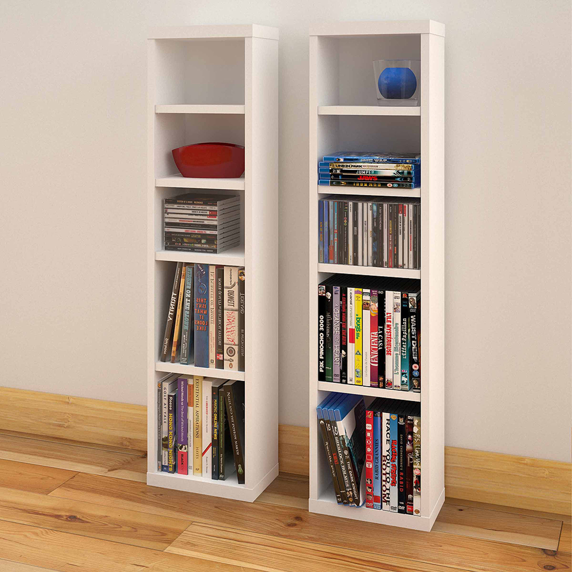 Liber T 4 Shelf Modular CD / DVD Storage Towers, Set Of 2