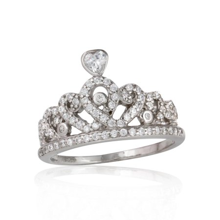 Clear Cubic Zirconia Tiara Crown Ring Rhodium Plated Sterling Silver Size 7