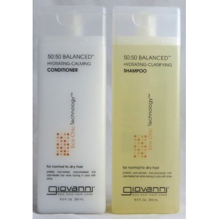 Giovanni 50:50 Balanced Remoisturizer Duo Set Shampoo Hydrating-Clarifying & Conditioner Hydrating-Calming, 8.5 Oz Each