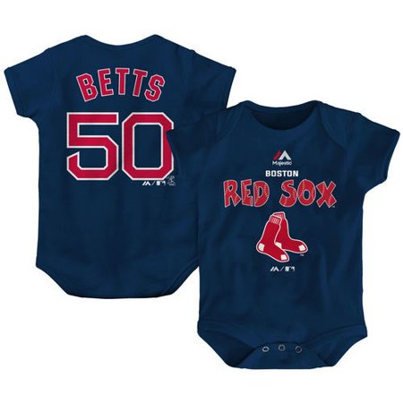 ec4d00a6 Majestic - Mookie Betts Boston Red Sox Majestic Newborn & Infant Stitched  Player Name & Number Bodysuit - Navy - Walmart.com