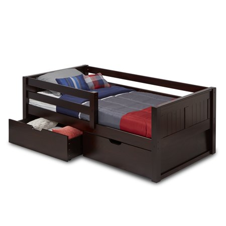 Camaflexi Twin Size Day Bed with Front Guard Rail & Drawers - Panel Headboard - Cappuccino (Girls Daybeds)