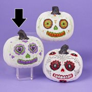 "4"" Day of the Dead White and Purple Pumpkin Halloween Decoration"