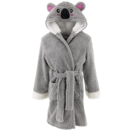 dELiA*s Girls Koala Gray Hooded Sherpa Bathrobe - Kids Bathrobe