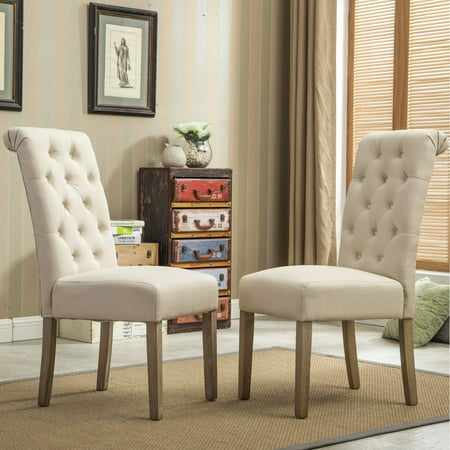 American Woods Chair (Roundhill Furniture Habit Solid Wood Tufted Parsons Dining Chair, Tan, Set of 2 )