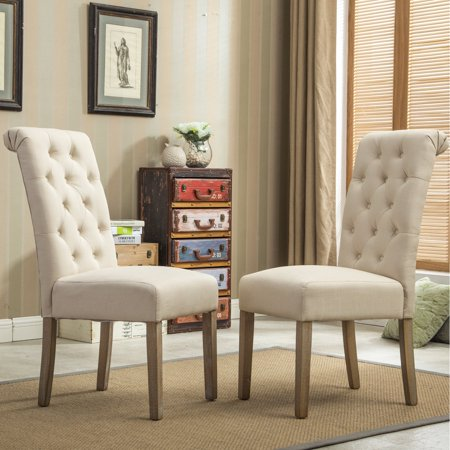 Roundhill Furniture Habit Solid Wood Tufted Parsons Dining Chair, Tan, Set of 2 ()