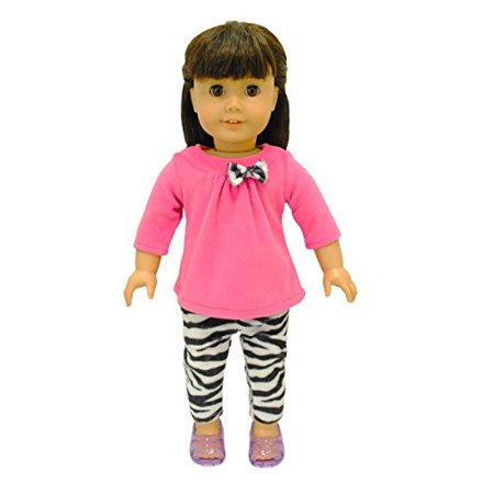 """Pink Butterfly Closet Doll Clothes - 2 Piece Clothing Shirt and Zebra Print Leggings Fits American Girl Dolls, Madame Alexander and Other 18"""" Dolls - image 1 of 1"""