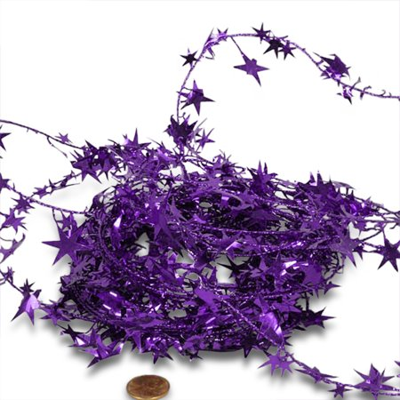 Purple Large Star 24.5ft Wired Decorative Garland - Barbed Wire Garland