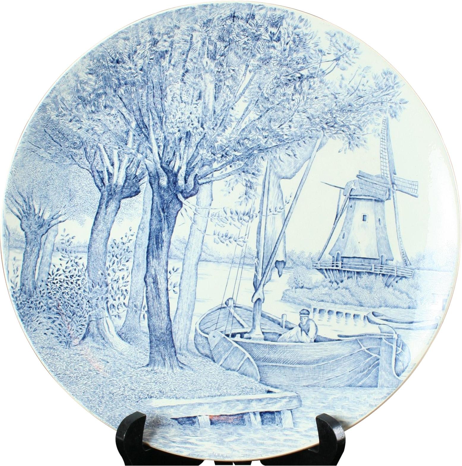 Plate Royal Sphinx Boch Blue White Delft Ceramic 1950 Tra...