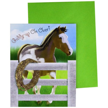 Horse Party Invitations (Giddy-Up Horse Party Invitations With Green Envelopes - 8)