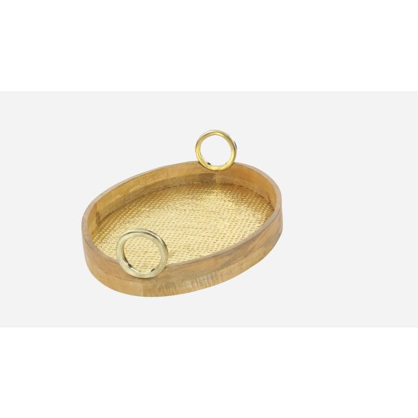 Decmode Traditional 24 And 28 Inch Oval Wood Brass Trays With Round Metal Handles Set Of 2 Com