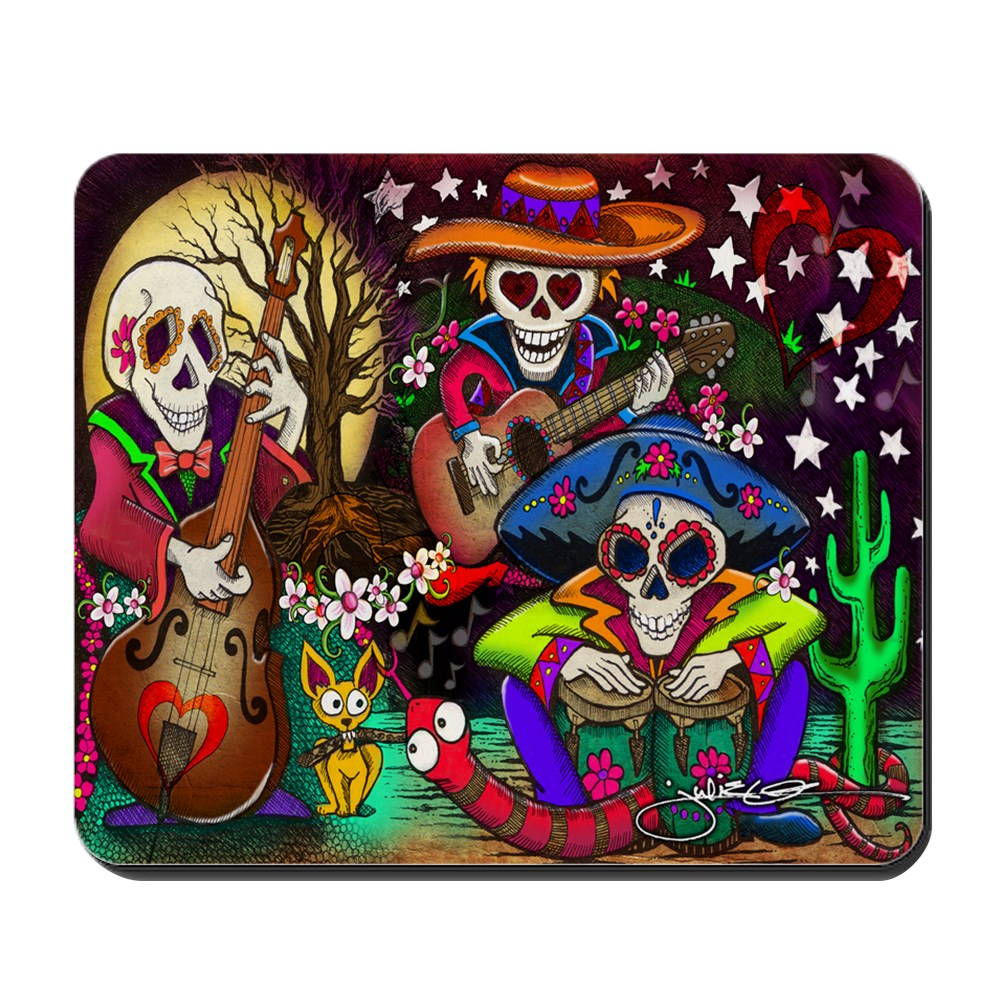 CafePress - Day Of The Dead Music Art By Julie Oakes - Non-slip Rubber Mousepad, Gaming Mouse Pad