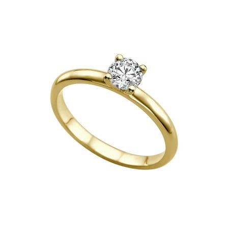 5 50MM Forever One D-F VS Moissanite Engagement Ring (0 54 ct Moissanite  Weight, 0 60 ct dew) Plain Classic 14K Gold