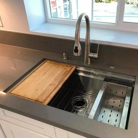 Boann 32\'\' x 20\'\' Undermount Kitchen Sink with Sliding Cutting Board and  Colander