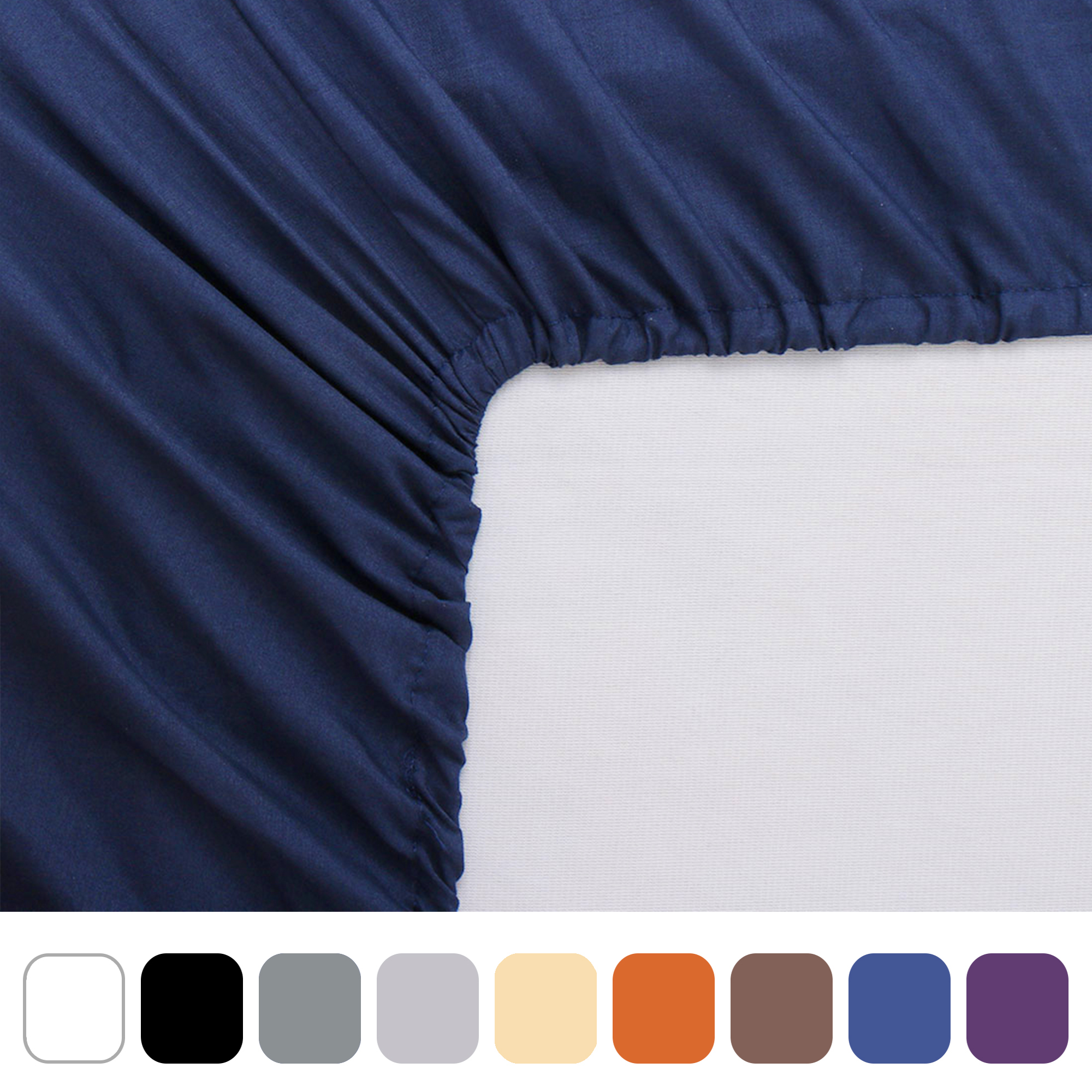 PERCALE single double size fitted sheet 10 inch 25 cm easycare color LIGHT BLUE