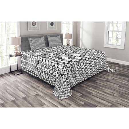 Black and White Bedspread Set, Grid Style Lines Monochrome Interlace Squares Modern Digital Art Pattern, Decorative Quilted Coverlet Set with Pillow Shams Included, Black White, by Ambesonne ()