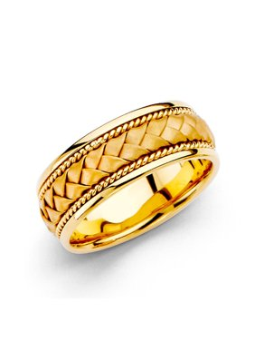 14K Solid Yellow Gold 8MM Braided Rope Comfort Fit Wedding Band, Size 8