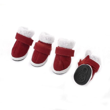 Unique Bargains 2 Pairs White Red Detachable Closure Xmas Boots Shoes XS for Pet Dog Doggy Cat (Doggy Christmas)