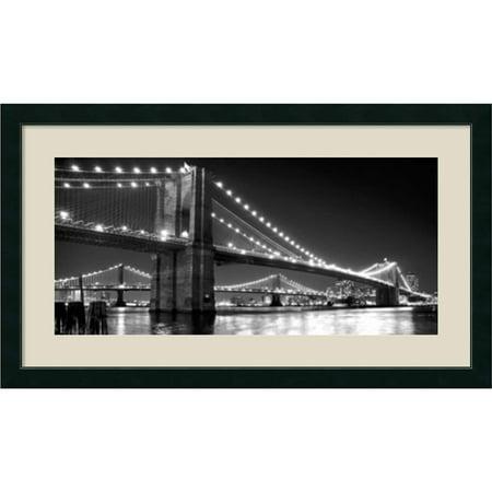 Amanti Art Framed Art Print 'Brooklyn Bridge and Manhattan Bridge at Night' by Phil Maier 43 x 25-inch