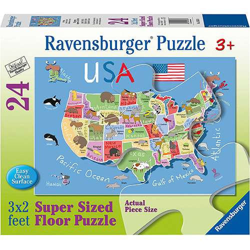 Ravensburger USA Map Floor Puzzle, 24 Pieces