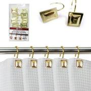 12 Pack Decorative Metal Shower Hooks Heavy Duty Rod Curtain Rings Bathroom Gold