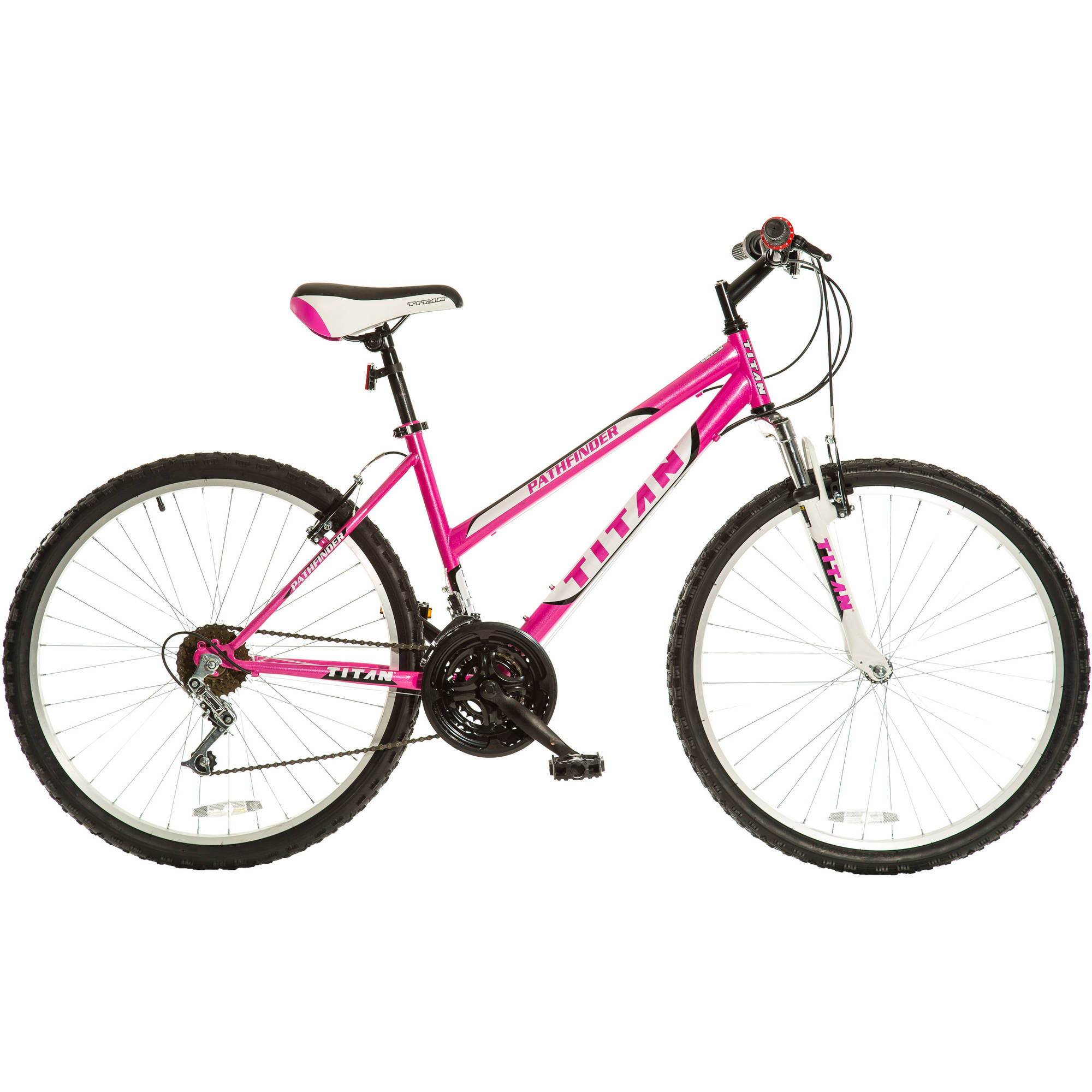 "26"" Titan Pathfinder Women's 18-Speed Suspension Mountain Bike, Hot Pink"