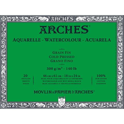 Arches Watercolor Block Paper - Cold Press - 140 lb - 18 x 24 inches