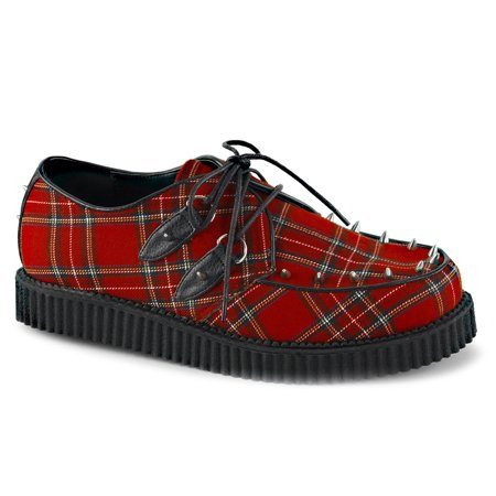 Mens Red Shoes Creepers Plaid Platform Loafers Lace Up Oxfords Studs Men Sizing